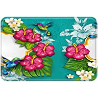 YISUMEI 50x80 cm Teppich Türvorleger Sauberlaufmatte Fußabtreter Kolibri Vögel Blumen Blaues Grün