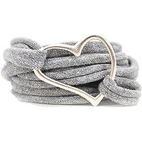 Armband Wickelarmband Stoff grau meliert oder in Wunschfarbe 60 Varianten mit Herz silber individuelle Geschenke mit…