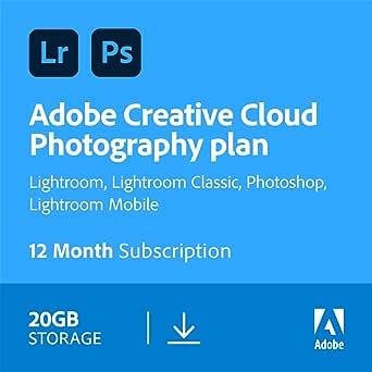 Adobe Creative Cloud Photography plan 20GB: Photoshop + Lightroom | 1 Year | PC/Mac | Download
