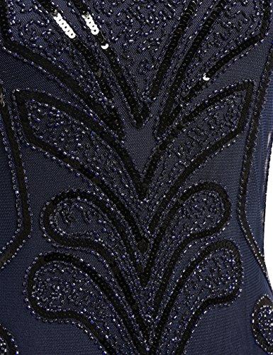 PrettyGuide Damen 1920er Vintage Charleston Art Deco Inspiriet Flapper Cocktailkleid Marine