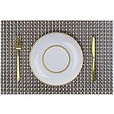 PVC Table Mats/Place Mats/Drawer Mats/Fridge Mats/Multipurpose Mats/Refrigerator Mats/Dinner Mats/Dinning Mats/Kitchen Place Mats, 30x45cm, 6 Piece Set-(T12X165651-T12X165651-Black Silver Gold)