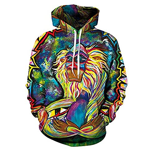 Unisex Realistic 3d Print Galaxy Pullover Hoodie Hooded Sweatshirt (Small/Medium, Monkey King)