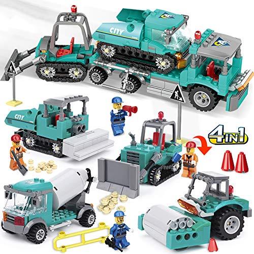 Aiya 462 stücke 4in1 Engineering Bagger LKW Bausteine   Für Kinder Kompatibel Stadtmischer BAU Ziegel Set Spielzeug