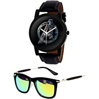 Younky Boys/Men's Analog Avenger Black Dial Strap Watch with Aviator Sunglasses (Black, YNK-0320-WCH40)