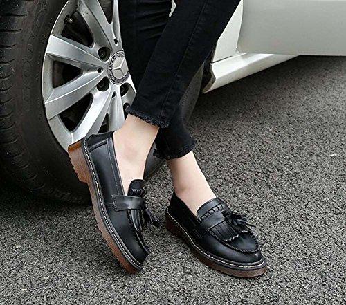 Pompino Loafer 4cm spessa borsa botton Slip su scarpe casual Donne Round Toe Bowknot puro colore scarpe Corte scarpe Eu Dimensioni 34-43 Black plus cashmere