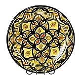 Simandra Orientalischer Keramik Teller Handbemalt marokkanische Keramikschüssel Wandteller groß Color Gelb