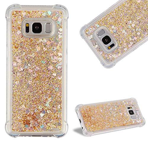 Kristall Transparent Hülle für Samsung Galaxy S8,CESTOR Luxus Liebe Herz Flüssig Treibsand Ultra Dünn Weich Silikon TPU Durchsichtig Dauerhaft Schutzhülle für Samsung Galaxy S8,Gold