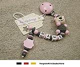 Baby SCHNULLERKETTE mit NAMEN | Schnullerhalter mit Wunschnamen - Mädchen Motiv Bär und Eule in rosa