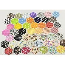 200 Telas hexagonales para flores, cojines, toallas, banderines, vestidos, guirnaldas, manualidades de 4.2 x 2.4 cm 50 diseños costura, scrapbooking, patchwork, colchas, canastillas...de OPEN BUY