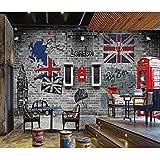 Tapisserie Photo 3D Papiers peints vintage en brique 3D Rétro London Booth Photo Papier Peint Murale 3D Home Bar Cafe Décor Vinyle Autocollant/Papier Soie-200X140CM