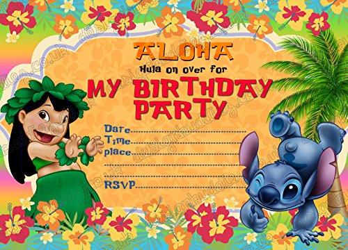10x Lilo & Stitch Kids Birthday Party Einladungen mit 10Umschlägen, 20