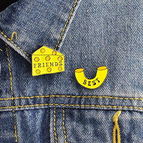 LFDHZ 2PCS / Set Makkaroni und Käse Block Stifte Set 1 Paar Käsestifte und Broschen Abzeichen Hartemail Pin Best Friends Pin Set (Block Von Käse)