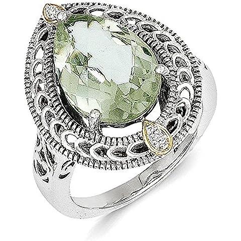 Sterling Silver w / 14k Diamond & Verde Quarzo Anello