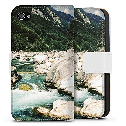 Apple iPhone X Silikon Hülle Case Schutzhülle Fluß Felsen Natur Sideflip Tasche weiß