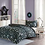 MIZONE KIDS Starry Night Printed Duvet Cover and Pillowcase Set, 100% Breathable Microfibre, Luxury Trendy Childrens Quilt Bedding Set (Single,135 x 200cm, Black)