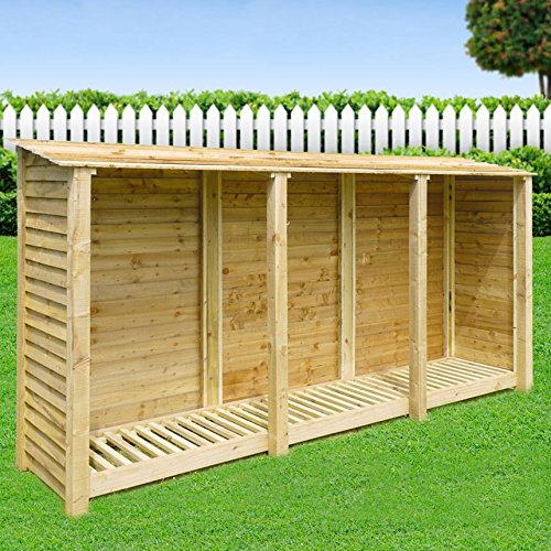 Rutland County Garden Furniture EMPINGHAM - WOODEN LOG STORE/GARDEN STORAGE, 11ft WIDE X 6ft HIGH, BROWN, HEAVY DUTY, HAND MADE, PRESSURE TREATED.