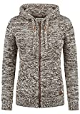 DESIRES Philadelphia Damen Winter Strickpullover Troyer Grobstrick Pullover mit Kapuze, Größe:S, Farbe:Coffee Bean (5973)