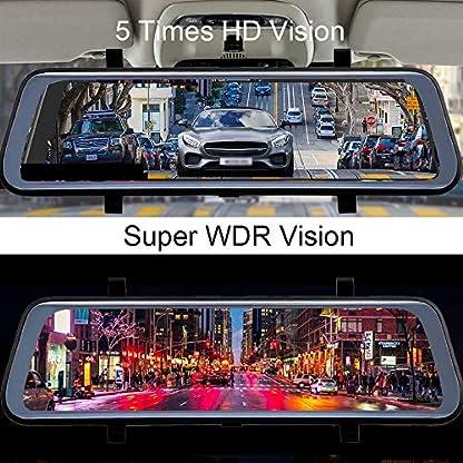246-cm-2366-Zoll-Spiegel-Dashcam-Stream-Media-1080P-Dual-Linse-Rckfahrkamera-Kit-IPS-Touchscreen-170-Full-HD-Front-und-140-Weitwinkel-Full-HD-Rckfahrkamera