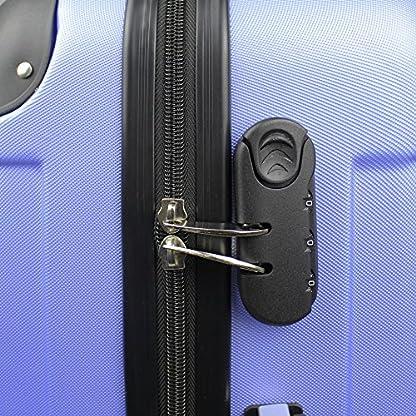 Todeco – Juego de Maletas, Equipajes de Viaje – Material: Plástico ABS – Tipo de ruedas: 4 ruedas de rotación de 360 ° – Esquinas protegidas, 51 61 71 cm, Azul cielo, ABS