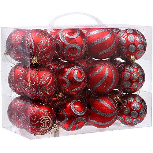 Sea Team 70mm/7cm Zarte Malerei & Paillette Bruchsichere Christmas Ball Ornaments Deko Hänger Weihnachten Ornaments Weihnachtskugeln Set für Xmas Tree–24zählt, plastik, rot, (Kugel Pailletten Ohrringe)