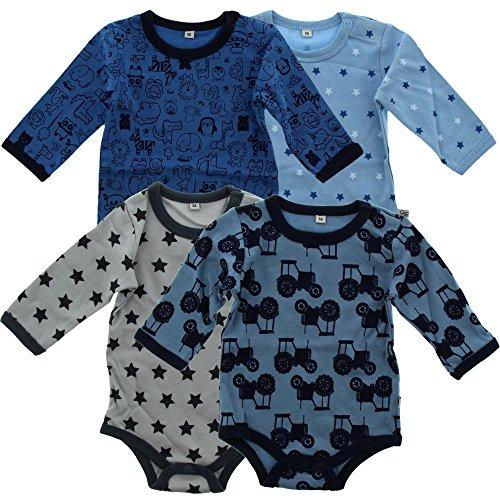 Pippi 4er Pack Baby Jungen Body mit Aufdruck, Langarm, Alter 0-1 Monate, Größe: 50, Farbe: Blau, 3819