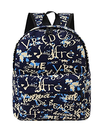 SaiDeng Femme Preppy Style Sac À Dos Canevas Cartable Imprimé Décontracté Sacs Bleu 4