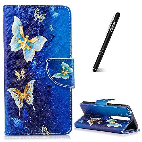 Slynmax Coque Nokia 6 2018 Rouge Blanc Bleu Étui, PU Cuir Papillon d'or Wallet Flip Protective Cover Style de Smart Cover Case Étui et Carte de Crédit Slot de Magnetic Button pour Nokia 6 2018