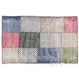 Eyes of India - Weiß Bunt Baumwolle Blockdruck Akzent Bereich Übertrocknet Dhurrie Teppich Flach zu Weben Hand Geflochten Boho Chic Indische Böhmisch - Multi, 3 X 5 ft. (91 X 152 cm)