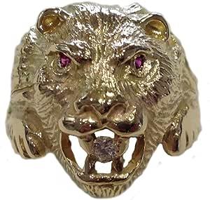 Testa di Leone - Anello in oro giallo 750% con Rubini e Diamante 0.10 ct. - AN18/O