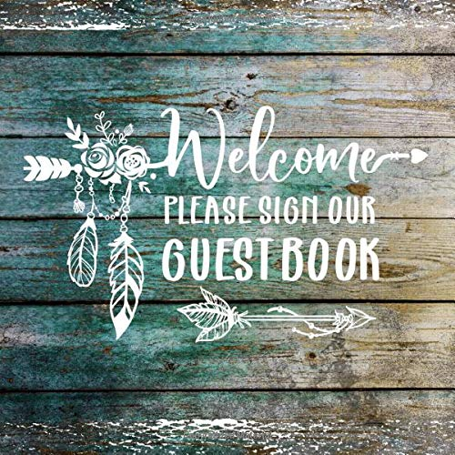 Welcome: Rustic Wood Guestbook For Vacation House, Guesthouse Visitors, Beach Wedding Party, B&B Holiday Hotel- Blank Unlined Pages To Write In, Sign In - Boho Lettering Guest Home Book -
