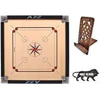 """A TO Z Full Size Wooden Ply Carrom Board with Coins 2 Striker & Carrom Powder Size- 32""""x 32"""" inch and Wooden Mobile…"""