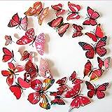 3D Schmetterlinge Blumen 12er Set Dekoration Wandtattoo (Alive (rot-pink))
