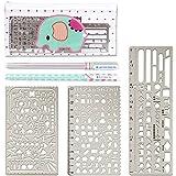 Zauber Acier Inoxydable Règle Dessin Ensembles de Modèles D'écailles de Pochoirs de Peinture Stencils Graphiques Modèle de Numéro Ruler Stencils (Paquet de 3)