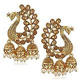 #7: Meenaz Wedding Bridal Gold Pearl Peacock Kundan Jhumka Jhumki Earrings For Women Girls Party wear stylish Necklace Jewellery set for women Girls- jhumki earrings-276