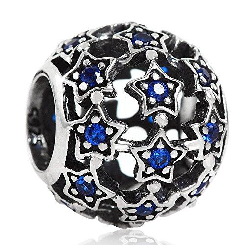 Charm in argento sterling 925 robusto, con stelle, pietre blu e zirconia cubica, motivo traforato, per bracciali con charm