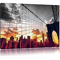 Manhattan al tramonto Nero / Bianco, Dimensioni: 120x80 su tela, XXL enormi immagini completamente Pagina con la barella, stampa d'arte sul murale con telaio, più economico di pittura o un dipinto a olio, non un manifesto o un