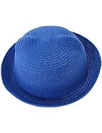 EOZY Chapeau de Paille Visière Mou Chat Oreille Anti Soleil Enfant Tête 53cm Bleu