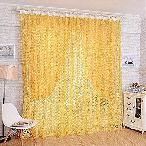 PU Ran 1199,9x 100,1cm Rose Blumen Voile Raum Fenster Vorhang, gelb, M