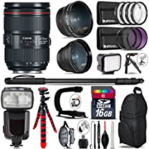 Canon 24-105mm Is II USM Lens 1380C002 + Pro Flash + 0.43X Wide Angle Lens + 2.2X Telephoto Lens + LED Kit + Video Stabilizing Handle + UV-CPL-FLD Filters + Macro Filter Kit - International Version