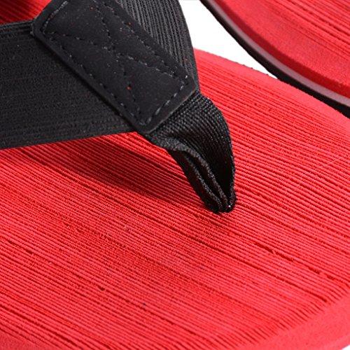 Vertvie Herren Sommer Schuhe Strand Sandalen Indoor Outdoor Slipper Zehentrenner Pantoletten Flip Flop Rot