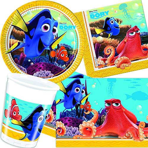 Procos/Carpeta 62-TLG. Party-Set * FINDET Dorie * für Kindergeburtstag & Mottoparty   mit Teller + Becher + Servietten + Tischdecke   Kinder Motto Nemo Pixar Disney