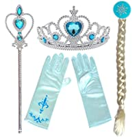 Partymane Frozen Princess Dress Up Party Accessories - Tiara, Wand, Hand Gloves and Wig/New Frozen Princess ELSA Plait Tiara Wand and Hand Gloves