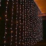 Angelbubbles 3M x 3M 300 LED al aire libre Fiesta navidad hadas de la secuencia cortina de luz de la boda 8 modos para la opción (Blanco cálido 3mx3m 300leds)