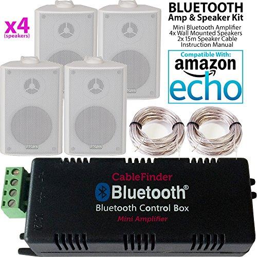 Amplificatore Bluetooth Smart Home & 4x bianco a muro speaker kit–Compact HiFi...