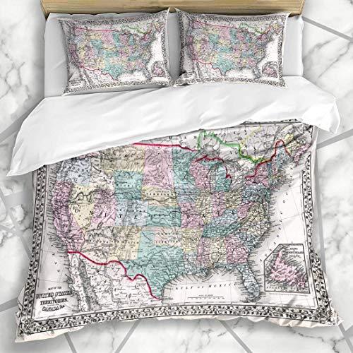 Soefipok Bettwäschesets USA Antique Map USA Mitchell Vintage Texas America Design Mikrofaser Bettwäsche mit 2 Kissenbezügen