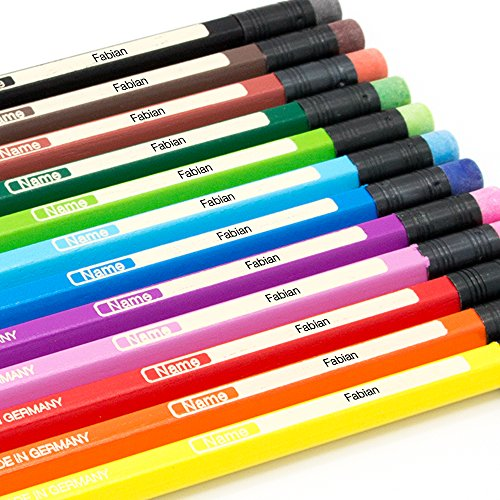 12 Buntstifte mit Namen individuell graviert - Radierer - Faber Castell - sechskant