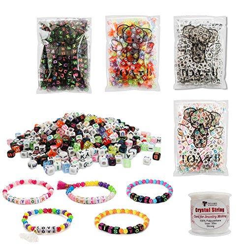 TOAOB 800pcs Verschiedene Stil Mix Farbe Acryl Alphabet Brief Perlen Kit mit Kristalldraht Für Kinder Handgemachte Diy Schmuck machen