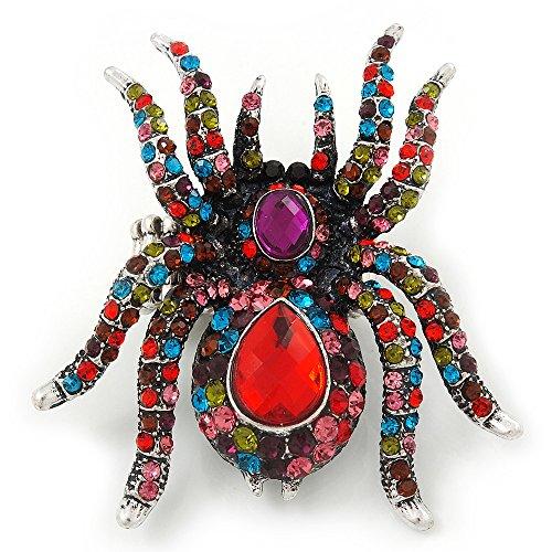 Unbekannt Übergroße Glaskristall Mehrfarbig Spider Stretch Cocktail Ring in silberfarben Vergoldung-6cm Länge - Stretch-spider