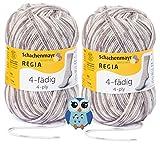 Schachenmayr Regia 4-fädig/4-fach Sockenwolle Color 2x50g 75% Schurwolle, 25% Polyamid + 1 Eulenknopf (4489 Make up Color)