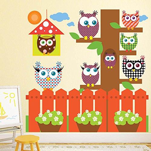 Eule Wandaufkleber Set Gartenbaum Wandtattoo Kinderzimmer Kinderzimmer Wohnkultur Erhältlich in 8 Größen X-Groß Digital
